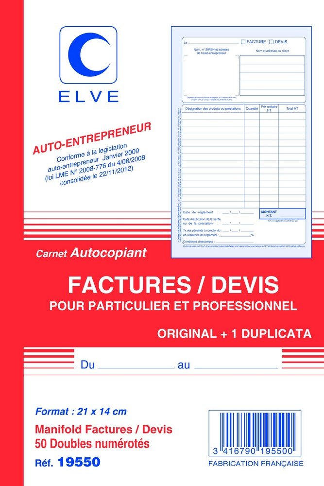 carnet de factures et devis auto entrepreneur elve 19550 facturier ventes pro. Black Bedroom Furniture Sets. Home Design Ideas