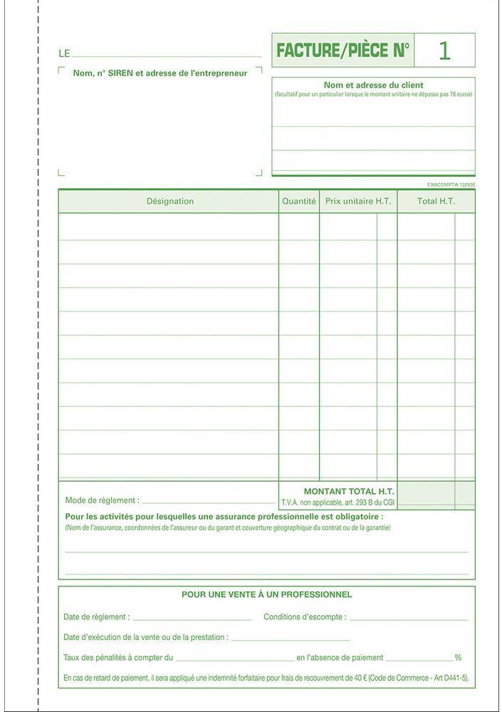 Facturier Auto Entrepreneur Petit Format Exacompta 13293e Ventes Pro